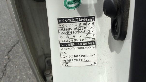 タイヤの空気圧表示